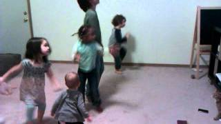 Willow dances to dance game with all the kids